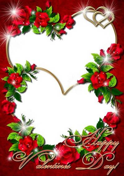 Romantic photo frame with red roses - Happy Valentine