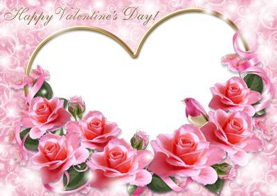 Romantic photo frame for Valentine's Day - Pink flowers for Valentine