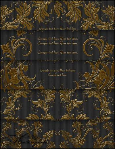Gold decorative PSD elements for working in Photoshop
