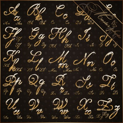 Shiny gold alphabet PSD for photoshop