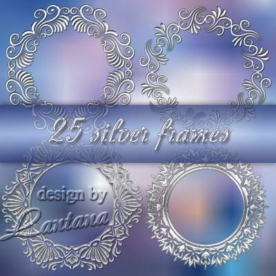 Collection of 25 round silver frames in PSD format for the registration of photo