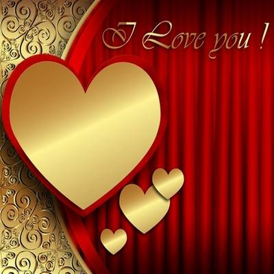 Free psd background for Photoshop I Love You! with Golden heart for Valentine's Day