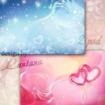 2 Photoshop backgrounds (psd) - Gentle mist with blue and red hearts