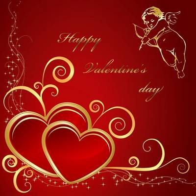 Love red backgrounds psd files with golden hearts and golden angel for Valentine's day