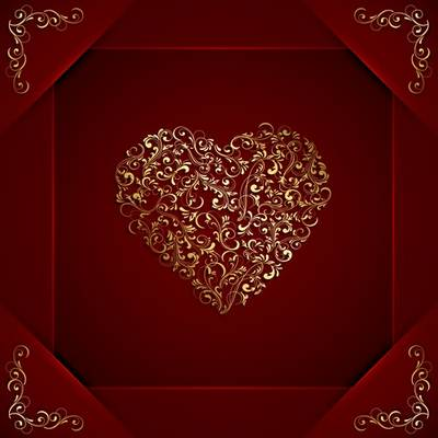 Red backgrounds ( 2 psd images) with golden Heart for Valentine's Day