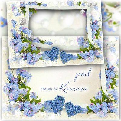 Download floral PSD frame with two floral hearts