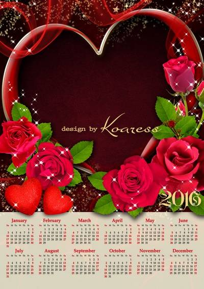 2 Love calendar free psd template for 2016 with hearts and red roses