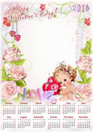 Happy Valentine's Day psd calendar 2016 with angels and roses - download