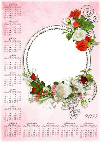 Set: Template Calendar PSD for 2016 and 2017 with beautiful roses ...