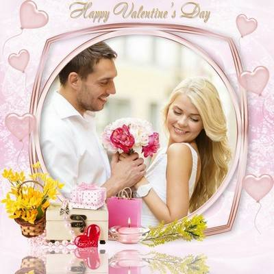 Photoshop frame psd for Valentine's day with hearts, flowers and gifts