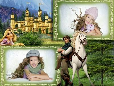 Photoshop frame psd for kids photos with cartoon characters Rapunzel and Flynn