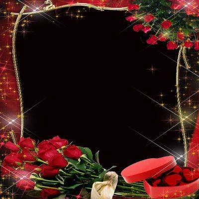 Love Frame psd file for photoshop with red roses