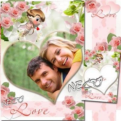Photoshop Romantic frame with roses and Cupid - Our Love