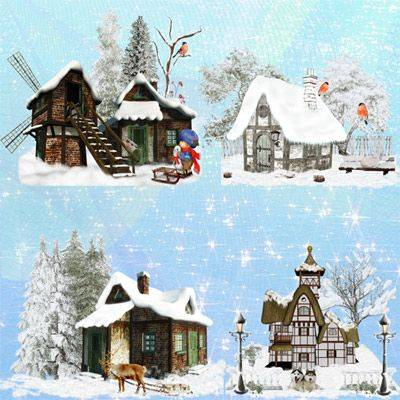 Winter Graphics PNG - houses in the snow - download 6 png clusters for photo design