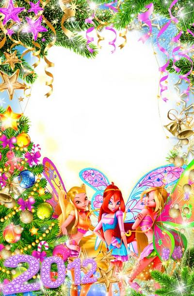 Bright festive frame for baby pictures - New Year Greetings from winx free download