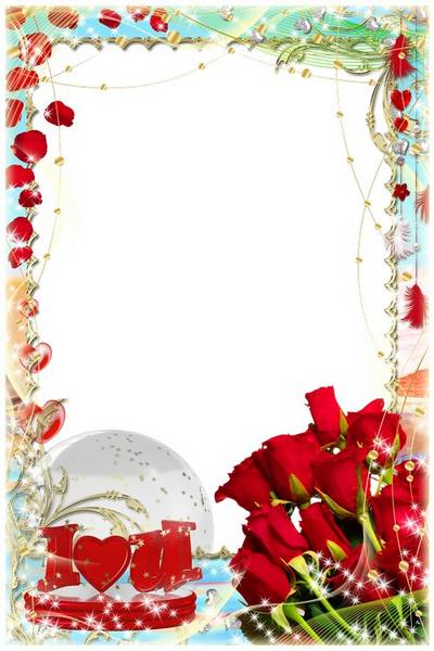Frame with red roses for decoration photo Valentine's Day (psd + png format)