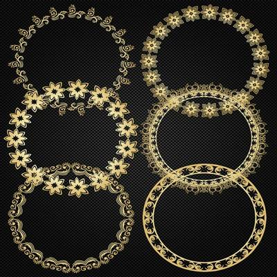 Round gold frame psd for Photoshop download