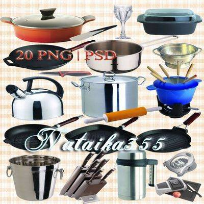 Clipart psd + 20 png files frying pan, pot, kettle, kitchen knives, bucket, thermos and other kitchen ware on a transparent background