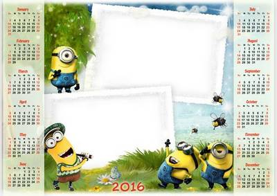 2016 calendar psd file for Children with Minions - you can insert 2 photos