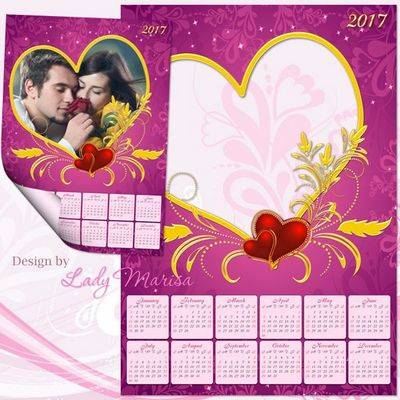 Calendar 2016 and 2017 psd template in pink with red hearts and a cutout for a photo in the form of a Golden heart