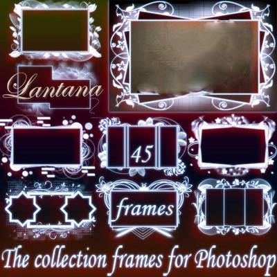 The collection 45 white frames psd format for Photoshop - Tenderness photo frames
