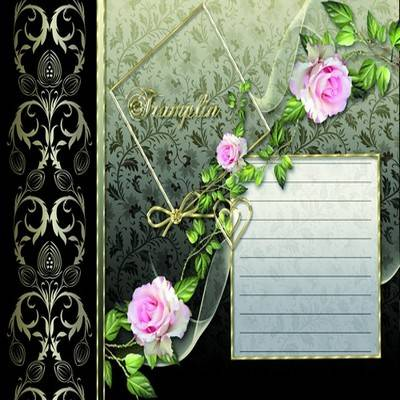 Classic portfolio psd template for Photoshop for girls with beautiful roses in black and green tones and gold frame for photo