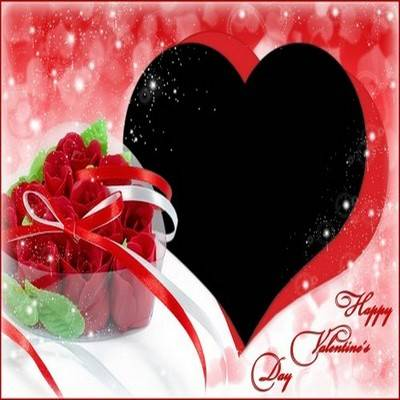 Valentine's Day photoshop frame psd file with cutout for photo in the shape of heart and red roses - Happy Valentine's Day