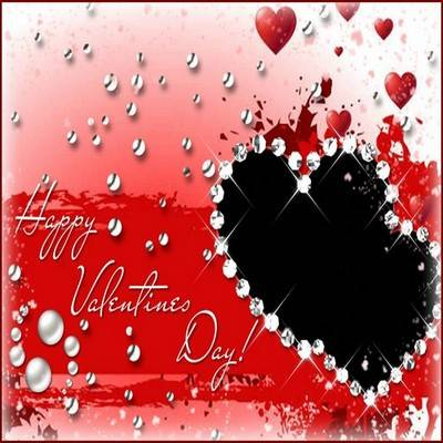 Happy Valentine's Day psd frame template for Adobe Photoshop - red background and cutout photo of two hearts