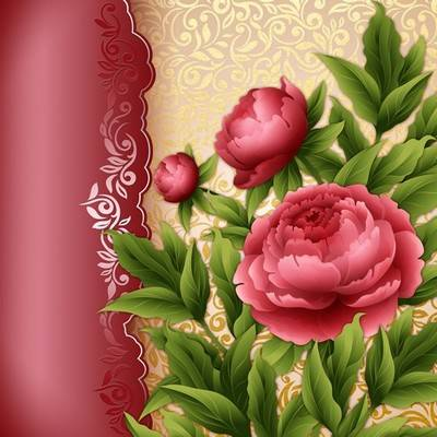 Free Photoshop source psd file with beautiful flowers red Peonies on a gold background with Burgundy insert