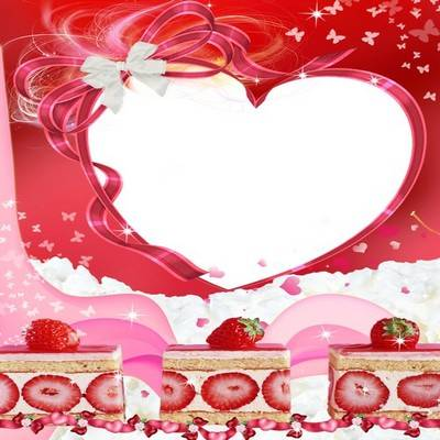 Frame for photo - Fruit tale - Multilayer frame with strawberries PSD + PNG
