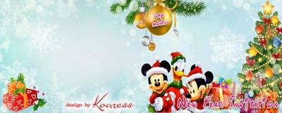 New years children invitation with framework and Disney cartoon characters