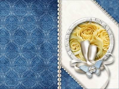 Wedding invitation - Tender blue roses
