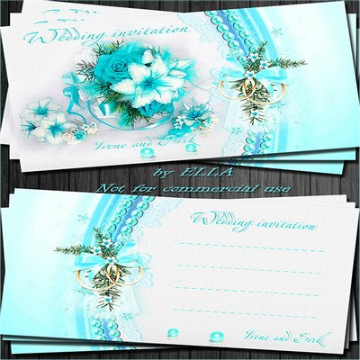 Delicate blue wedding invitations-Together Forever!