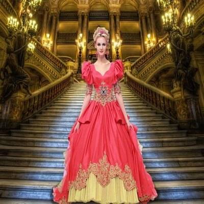 Free photoshop costume psd template for girl in a red ball gown on the stairs in the Palace