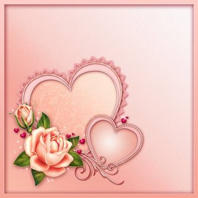 Free PSD source pink background, hearts and roses - multilayer Photoshop template