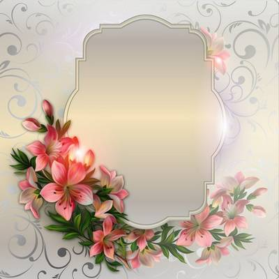 Psd source file free - pink flowers on a beige background for creating photo frames or collages