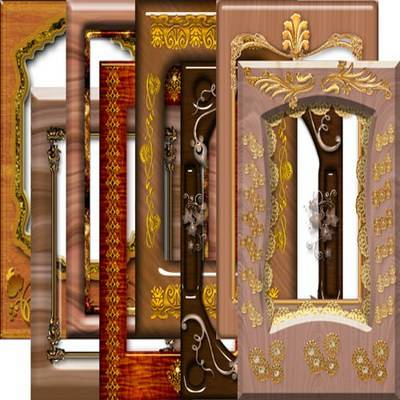 Png Frame for photo - wood and gold - 4 png files download
