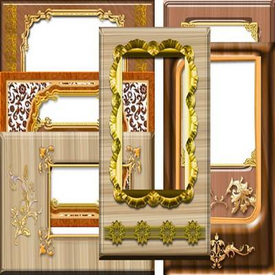 wood png photo frame - wood and gold part 2 - 4 png files download