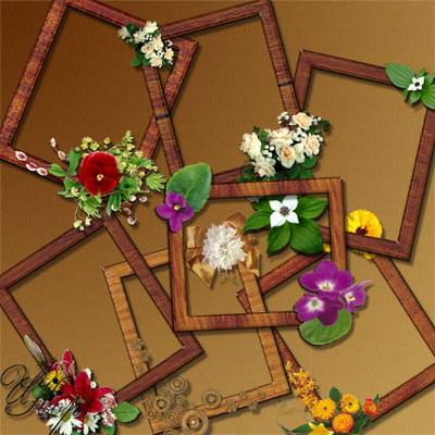 Png Frame for Photoshop - wood and flowers - 7 png frames files