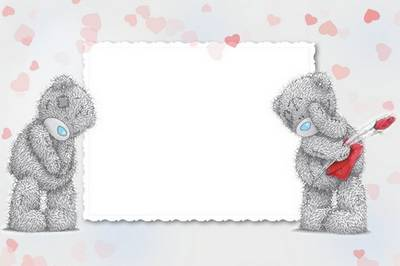 3 psd + 3 png Romantic photo frame for Adobe Photoshop with Teddy Bears