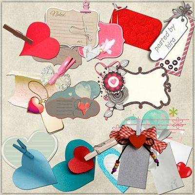Clipart png images - Labels and tags with hearts on a transparent background - 69 PNG