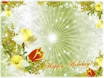 Holiday Frame PSD file for decoration festive photo with Spring flowers - inscription Happy Holiday