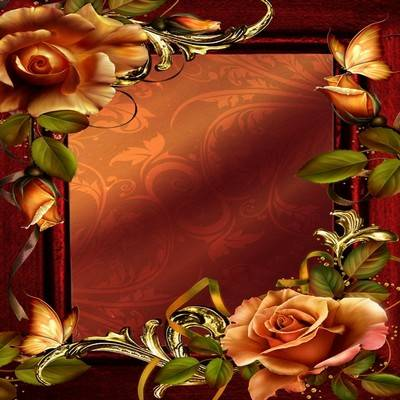 Frame for photo - Tea Rose and gold ornaments