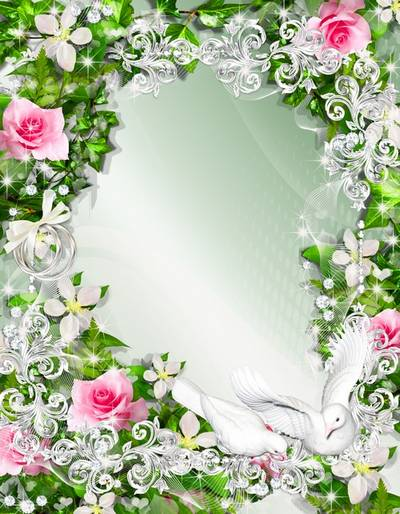 2 Wedding Frame with white pigeons - We wish You happiness