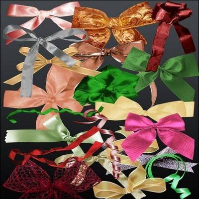 Multi-colored bows on a transparent background