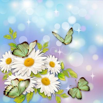 Multilayer Psd source for design in Photoshop - daisies and butterflies on a bright background