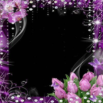 Violet photo frame psd file with purple flowers tulips and orchids