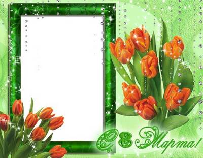 PSD Photo Frame - Orange Tulips March 8