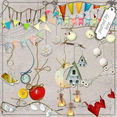 Clipart png images - Streamers, pendants for decoration on a transparent background, 170 PNG files,120x500 - 3600x1200 px, rar 63 Mb