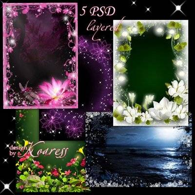 Set of layered photo frames for Photoshop - Magic of the Night